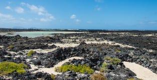 Öde Playa Caleton Blanco strand, Lanzarote, kanariefågelöar Royaltyfria Foton