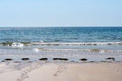 Öde strand på Ilha De Barreta Portugal med Atlantic Ocean Fotografering för Bildbyråer