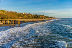 Öde strand på våren Fotografering för Bildbyråer