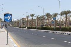 Öde vägSharm el Sheikh - ett sällsynt fenomen Royaltyfri Bild