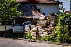 Ödelagd gammal en berättelsebyggnad - Turkiet royaltyfria foton