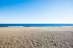 Ödelagd strand i Tenerife med gul sand och blå himmel royaltyfri bild