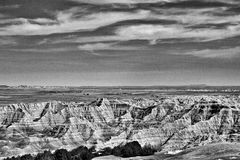Ödländer Nationalpark, South Dakota - Schwarzweiss stockfotos