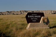 Ödland-Nationalparkeingangszeichen mit Ödländern im Hintergrund Stockfotografie