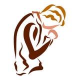 Ödmjuk bön som talar med guden, tro och bikt stock illustrationer