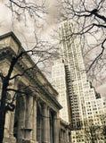 Öffentliche Bibliothek von New York City im Winter Lizenzfreies Stockfoto