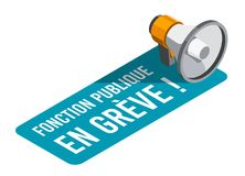 Öffentlicher Dienst auf Streik, auf französisch: Fonction Publique en-grève Stockfotografie