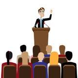Öffentliches Sprechen des Geschäftsmannes Stockfoto