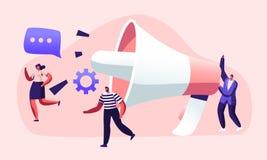Öffentlichkeitsarbeiten und Angelegenheiten, Kommunikation, PR-Agentur, die Team Work mit enormem Megaphon, wachsame Werbung, Pro vektor abbildung