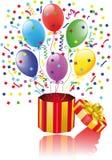 Öffnen Sie Überraschungsgeschenk mit Ballonen Stockfotografie