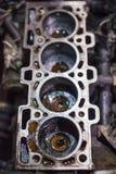 Öffnen Sie alten Block auf Vierzylindermaschine Lizenzfreies Stockfoto