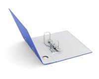 Öffnen Sie Büroordner mit den Metallringen, die auf weißem Hintergrund lokalisiert werden Lizenzfreie Stockbilder