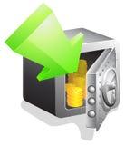 Öffnen Sie Banksafe mit grünem Pfeil Stockfotos