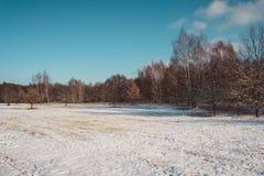 Öffnen Sie Bauernhoffeld mit Schnee im Winter Lizenzfreies Stockfoto