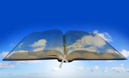 Öffnen Sie Bibel mit Kreuz auf Himmel stockfotos