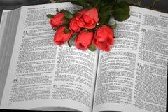 Öffnen Sie Bibel mit roten Rosen lizenzfreie stockfotos