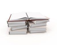Öffnen Sie Buch auf Stapel Büchern Lizenzfreie Stockbilder