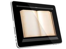Öffnen Sie Buch auf Tablette PC Computer vektor abbildung