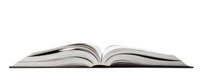 Öffnen Sie Buch auf Weiß. Lizenzfreies Stockfoto