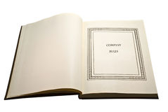 Öffnen Sie Buch-/Firma-Richtlinien Stockfoto