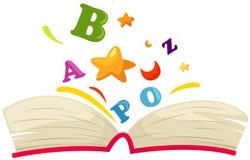 Öffnen Sie Buch mit Alphabet Stockbild