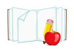 Öffnen Sie Buch mit Apple und Bleistift Lizenzfreies Stockfoto
