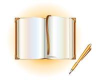 Öffnen Sie Buch mit einer Feder Lizenzfreies Stockbild