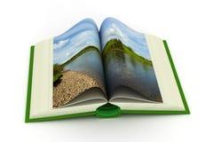 Öffnen Sie Buch mit einer Landschaft. Lizenzfreies Stockbild