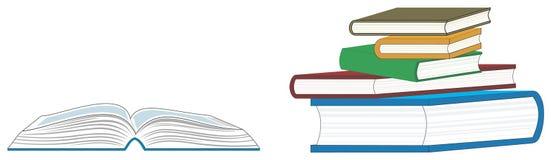 Öffnen Sie Buch und einen Stapel Bücher Stockfoto