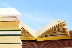 Öffnen Sie das alte Buch, das auf Himmelhintergrund lokalisiert wird Stockbilder