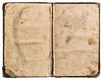 Öffnen Sie das alte Buch, das auf Weiß lokalisiert wird grungy getragene Papierbeschaffenheit Stockfotografie