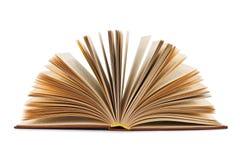 Öffnen Sie das Buch, das auf einem weißen Hintergrund getrennt wird Lizenzfreies Stockbild