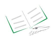 Öffnen Sie das Buch und die Feder vektor abbildung