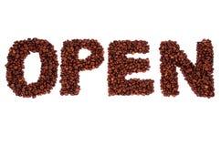 Öffnen Sie das Wort, das von den Kaffeebohnen gemacht wird Stockfoto
