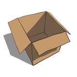 Öffnen Sie den Kasten, der auf weißem Hintergrund lokalisiert wird. Karikatur Stockbild