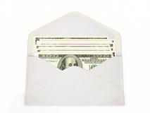 Öffnen Sie den Umschlag, der Dollarbanknoten enthält Lizenzfreie Stockfotos