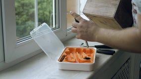 Öffnen Sie den Werkzeugkasten und das Werkzeug herum auf dem Holztischfensterbrett Bauschlosser- und Zimmereiwerkzeuge stock footage