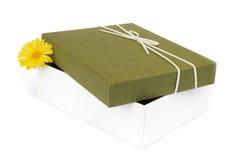 Öffnen Sie die Geschenkbox, die auf weißem Hintergrund lokalisiert wird Stockfoto