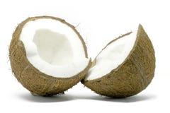 Öffnen Sie die Kokosnuss, die auf Weiß getrennt wird Stockfotografie
