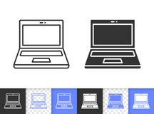 Öffnen Sie einfache schwarze Linie Vektorikone des Laptops stock abbildung