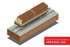Öffnen Sie Eisenbahnwagen für Transport von Bulkladungen Planwagen der Schiene Isometrische Illustration des Vektors der Schiene  Lizenzfreie Stockfotos