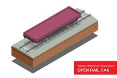Öffnen Sie Eisenbahnwagen für Transport von Bulkladungen Planwagen der Schiene Isometrische Illustration des Vektors der Schiene  Stockbild