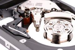Öffnen Sie Festplattenlaufwerk des Computers auf weißem Hintergrund Stockbilder