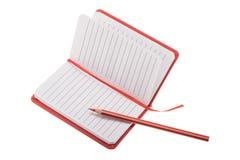 Öffnen Sie freier Raum gezeichnetes Notizbuch mit Bleistift Stockfoto