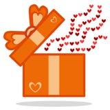 Öffnen Sie Geschenk mit Herzikone Stockfoto