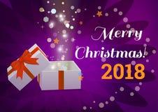 Öffnen Sie Geschenkbox mit Text der frohen Weihnachten Lizenzfreies Stockfoto