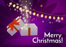 Öffnen Sie Geschenkbox mit Text der frohen Weihnachten Lizenzfreies Stockbild