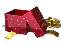Öffnen Sie Geschenkboxrot Stockbild