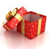 Öffnen Sie Geschenkkasten über weißem Hintergrund Stockfotos