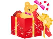 Öffnen Sie Geschenkkasten mit Kindspielwaren Stockbilder